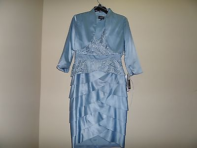 Adrianna Papell Woman Tiered Lace & Charmuese Dress With Jacket NWT