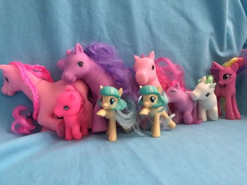 Hasbro My Little Pony Lot Of 9 Pink Purple Big Small