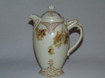 VINTAGE HAND PAINTED ANTIQUE VICTORIAN OLD IVORY  PORCELAIN TEA POT COFFEE POT