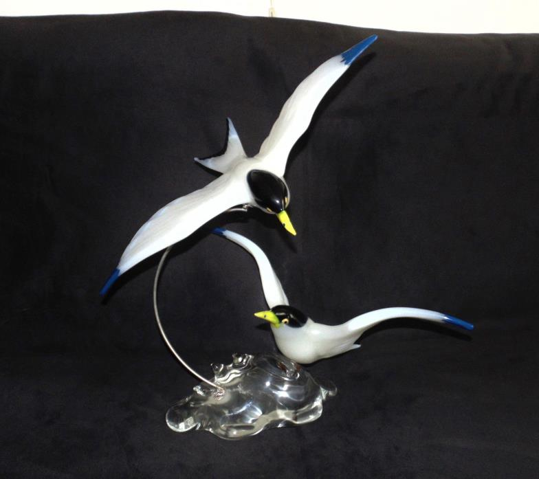Rare Pino Signoretto Italian Art Glass Flying Birds Sculpture Murano Venetian