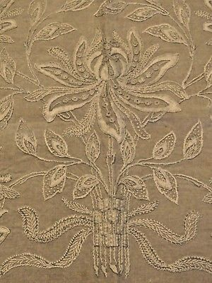 Antique Tablecloth Embroidered Linen Arts and Crafts Vintage Table Cover Topper
