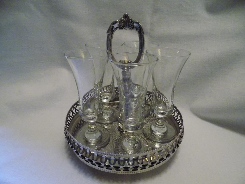 Cordial Glasses and Silverplated Carrier, Set of 5 glasses, England