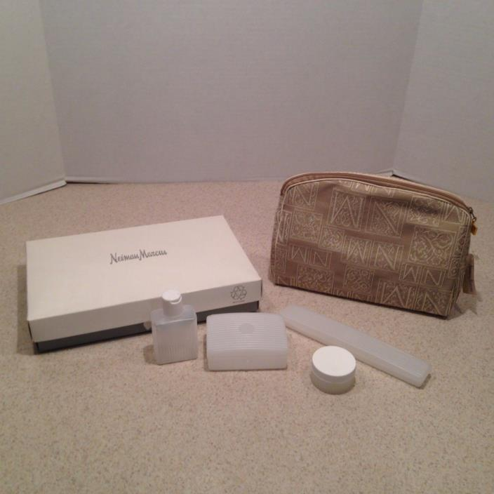 Vintage Toiletry Bag by Neiman Marcus Travel Cosmetic Case & refillable bottles