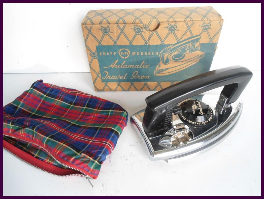 Vintage Knapp-Monarch Folding Travel Laundry Clothes Iron with Original Box