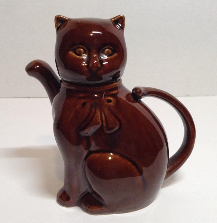 Vintage Glazed Pottery Brown Kitty Cat Tea Pot 7