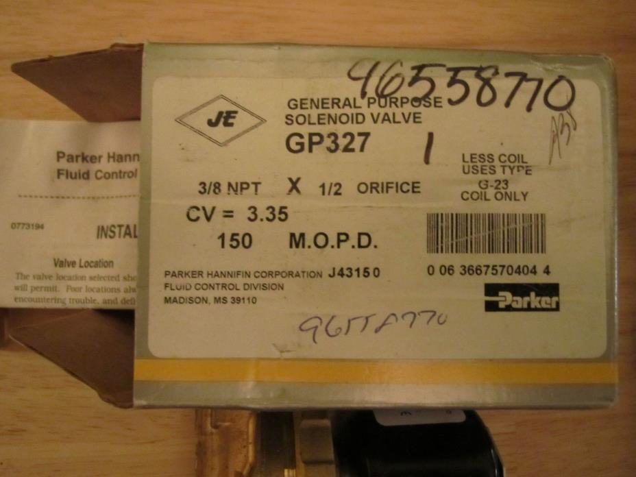 Parker Solenoid Valve Brass GP327 70404