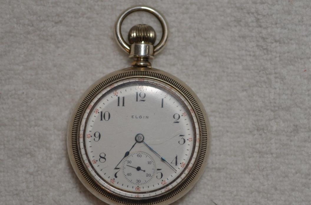18s Elgin 3 ounce Silver Pocket Watch with Gold Train on Reverse