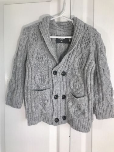 Toddler Baby H&M Gray Cardigan Sweater US 12-18 Month Cozy