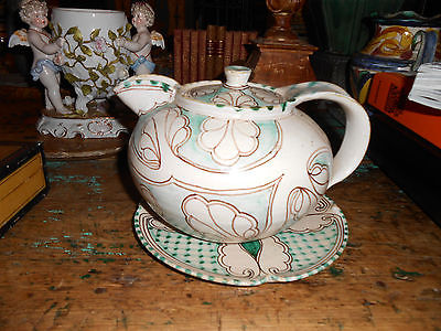 Very Rare Antique Modernist Italian Ceramic Teapot with Plate