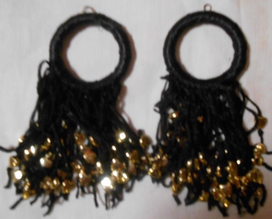 lot of 2 window shade pulls black rayon with gold hearts