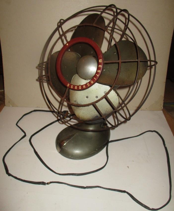 Vintage Westinghouse Industrial Art Deco Style  Green Metalic Table  Fan - Works