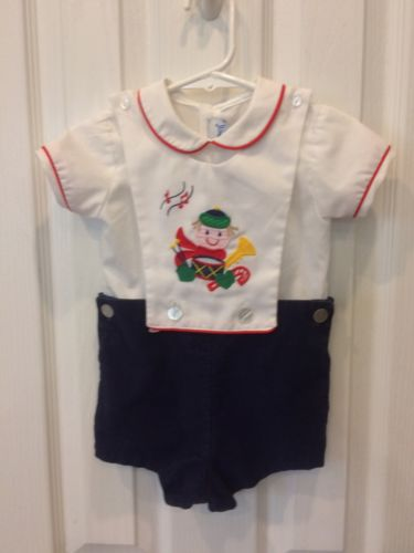 Christmas 18 Month Baby Boy Outfit Drummer Patsy Aiken Made USA Airplane