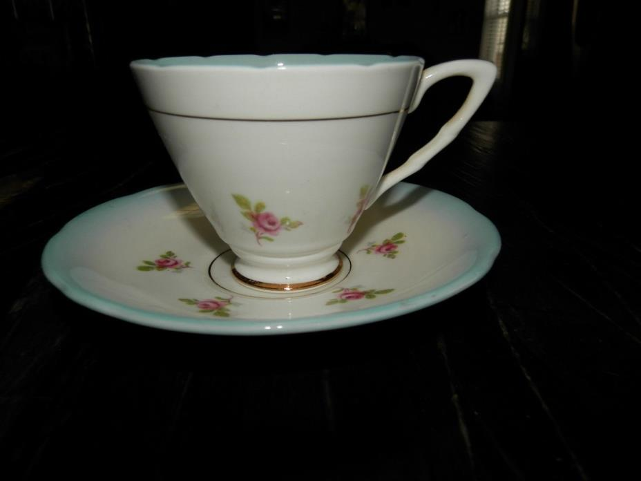 Royal Stafford vintage bone china tea cup & saucer pink flowers with blue trim #