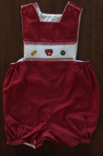 Toddler Boy's One Piece Smocked Sports Romper Shortalls Size 18-24 Mos.