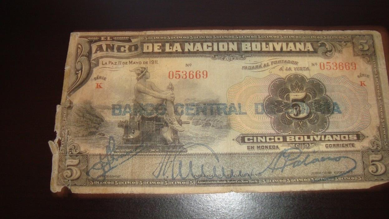 BANCO DE LA NACION BOLIVIANA  CINCO BOLIVIANOS NO'053669'LA PAZ' 11 DE MAYO 1911