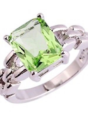 Emerald Cut Faux Green Amethyst Silver Ring Size 8 Solitare