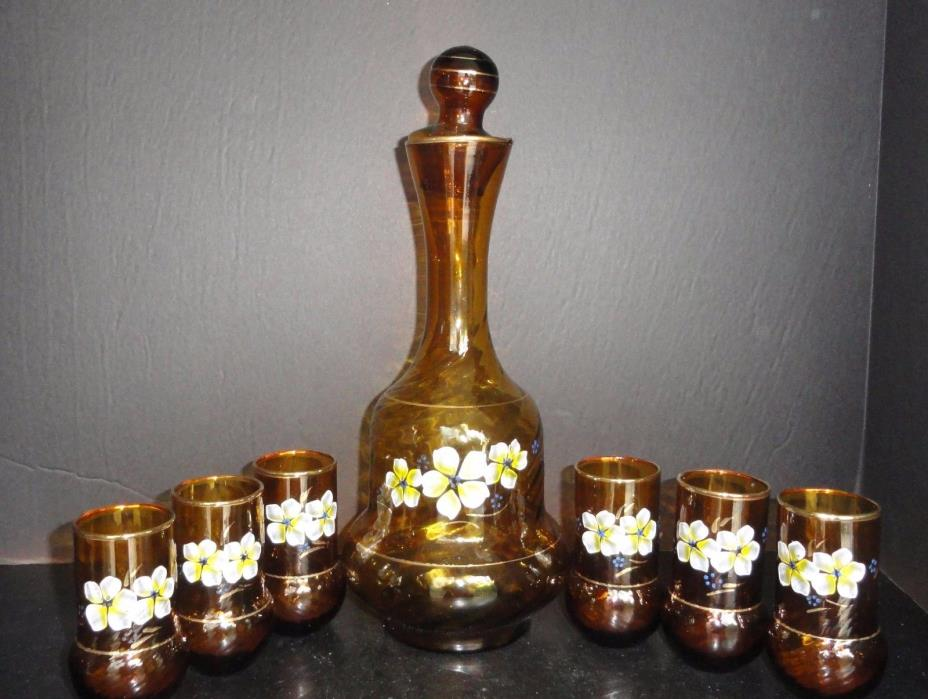 Bohemian Art Glass Decanter Cordial Serving Set Hand Painted Flowers & Gold Gilt