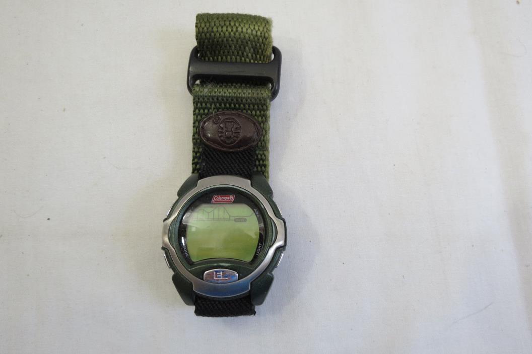 Mens COLEMAN SPORT WRISTWATCH WRIST WATCH Army green band VELCRO CLOSE timepiece