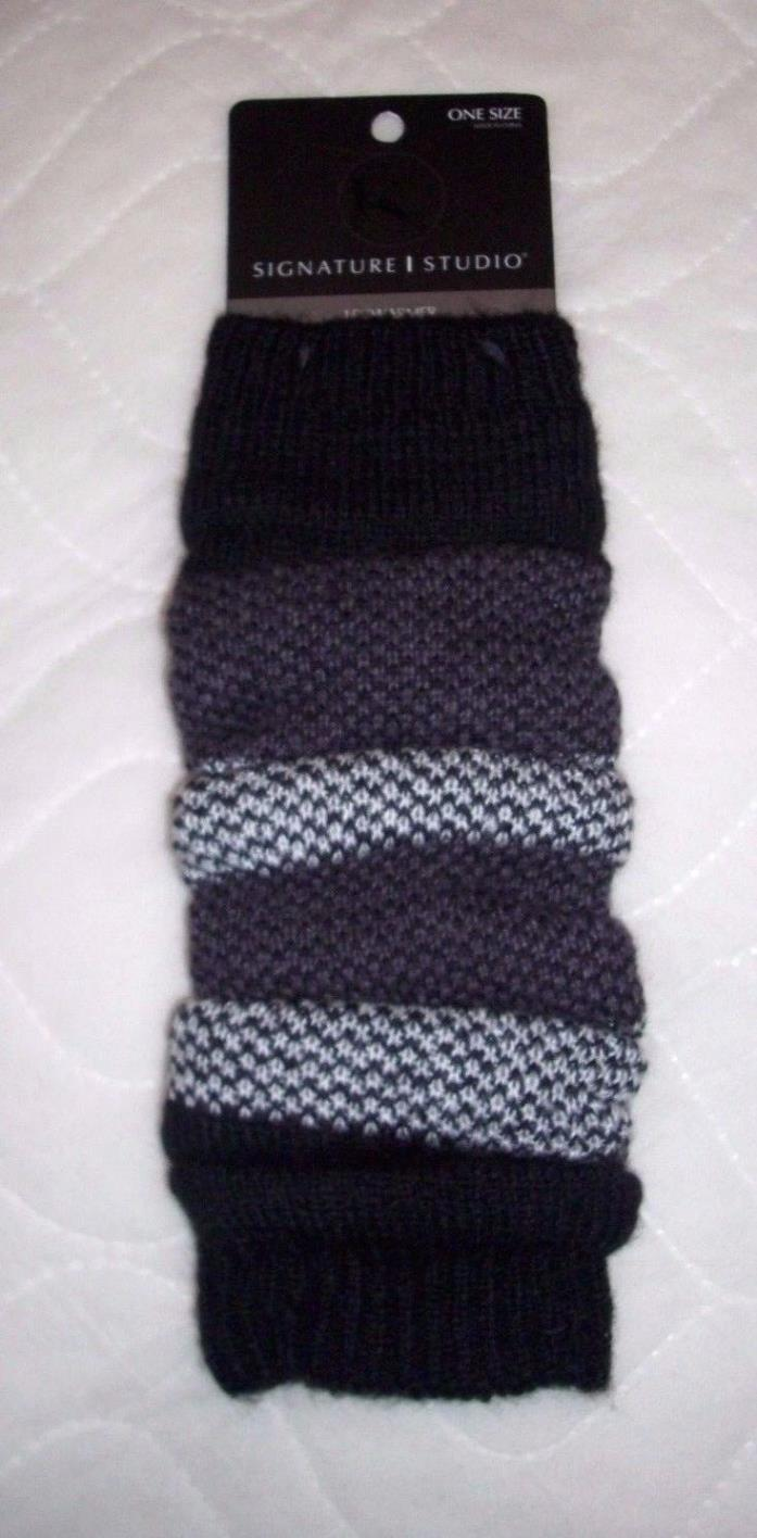 LEG WARMERS FOR BOOTS SIGNATURE STUDIO BLACK BROWN WHITE CHUNKY KNIT LOOK  NEW