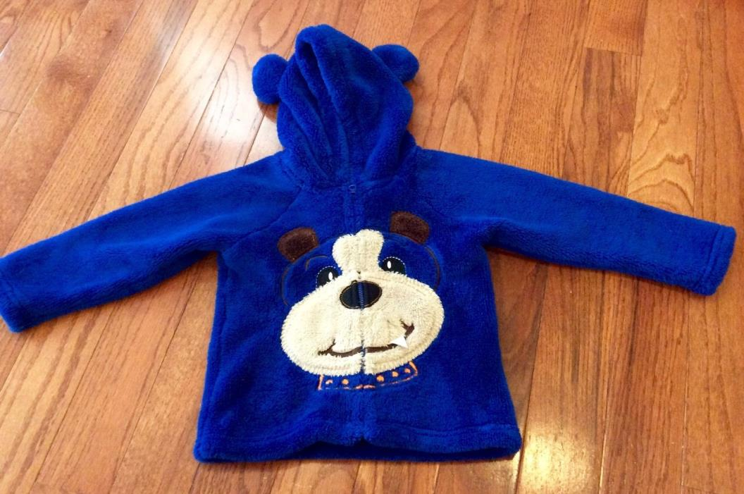 Boys Rock Puppy Fleece Jacket 3T ~ Adorable :) Fuzzy/Soft/Cute EUC