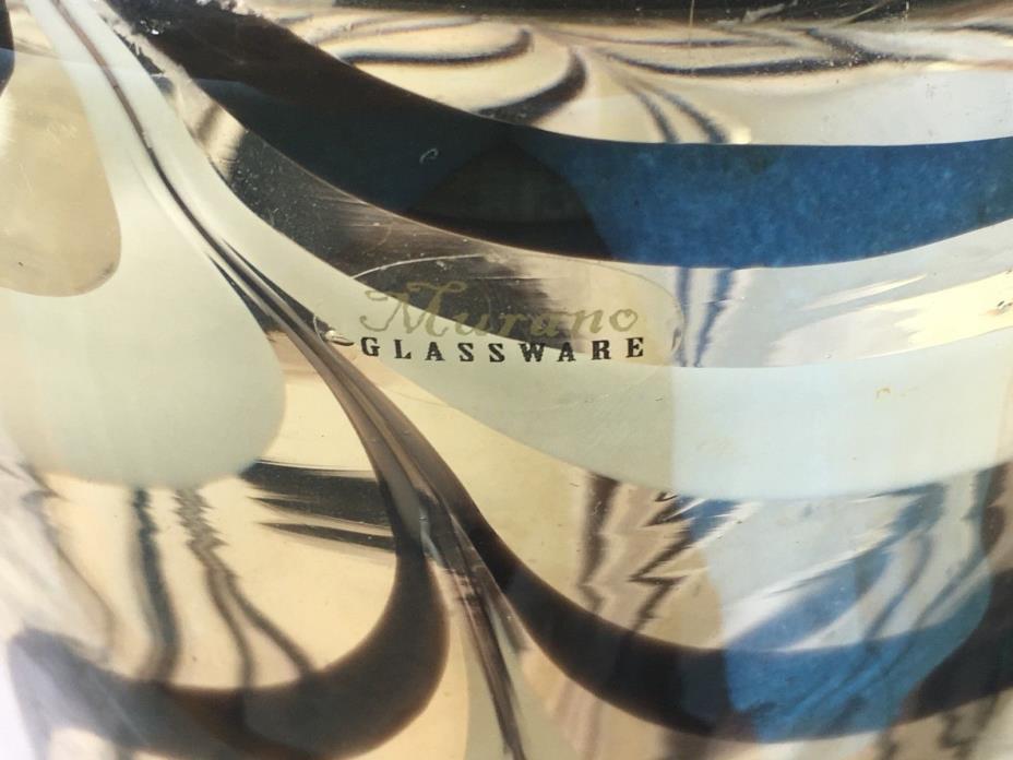 Murano Art Glass Handblown Vase Beige Black Clear Swirl Label