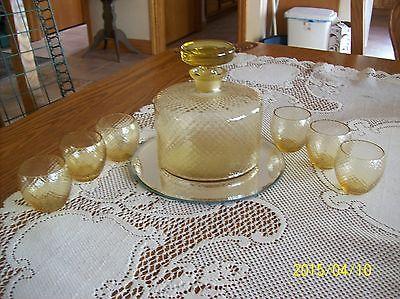 Decanter & 6 Glasses Mid-Century Art Deco Style Amber/Gold Diamond Cut Pattern