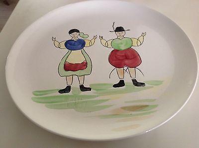 Vintage Ironstone Platter Breton Man & Woman Hand Painted - England