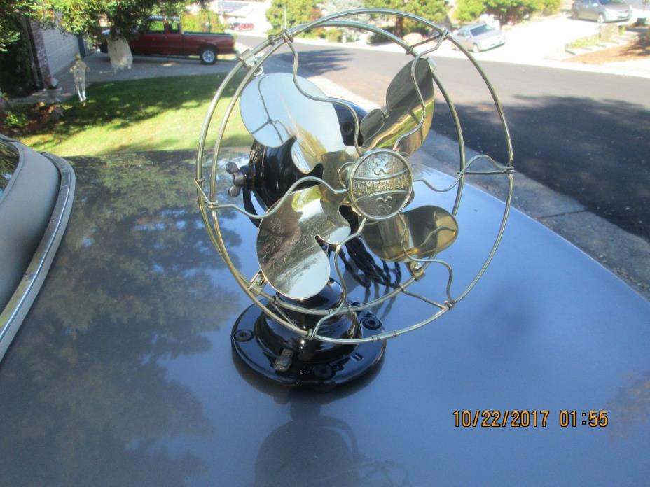 VINTAGE ANTIQUE FAN VINTAGE EMERSON FAN BRASS BLADE FAN ANTIQUE ELECTRIC FAN