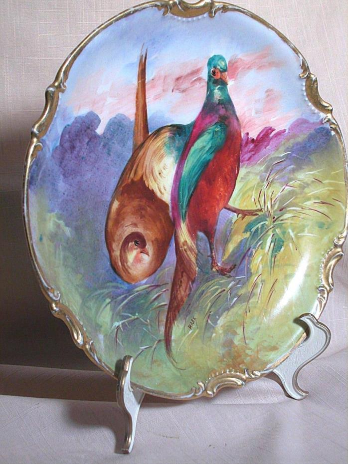 Limoges Plaque Two Game Pheasants  Birds Hand Painted Coronet Mark 10-3/4