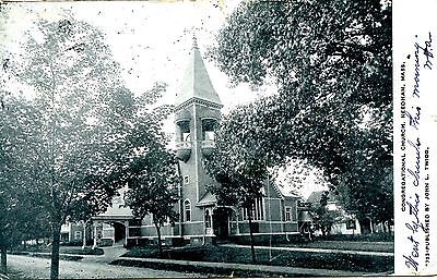 Old post card postcard congregational church needham mass. bell tower