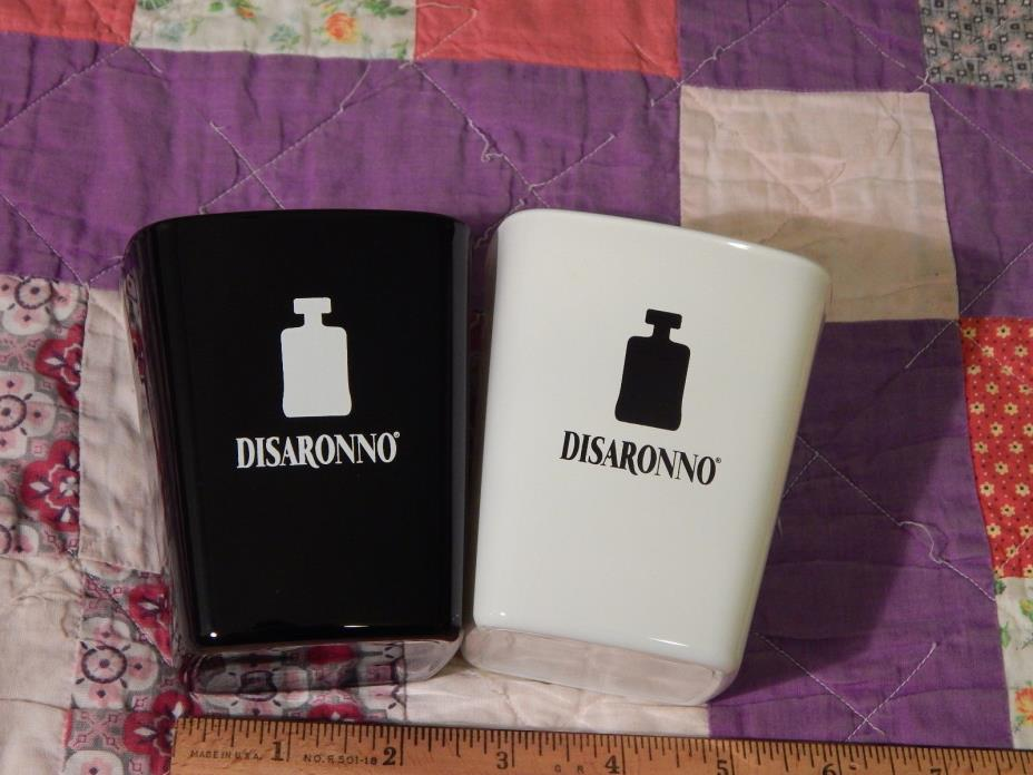 Disarrono Liqueur (LOT of 2) BLACK & WHITE Drinking Glasses (FREE SHIP.) BARWARE