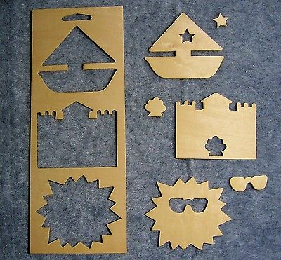 Unfinished Wood Frames w/ Punchout Shapes for Painting & Crafts - Beach Vacation
