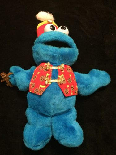 "Sesame Street Cookie Monster Trumpet Playing Musical Talking Plush Toy 17"""