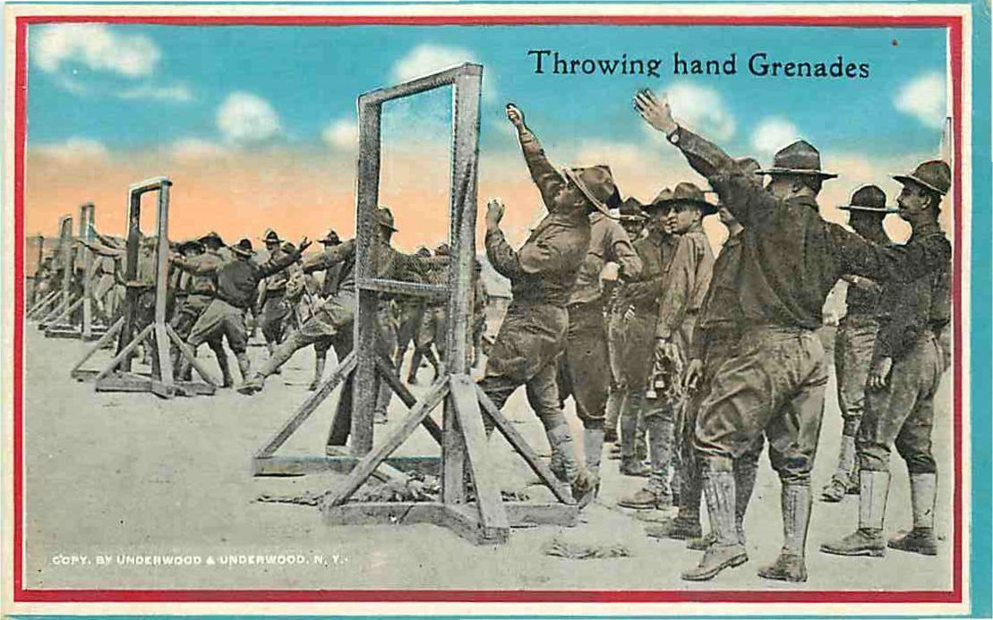Military Postcard Soldiers in Train for Throwing Hand Grenades