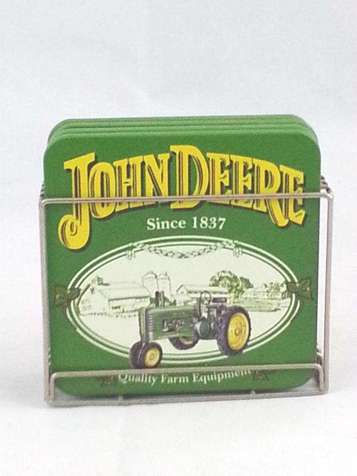 Vintage 1980s John Deere Drink Coasters Set of 4 Cork & Metal Holder Tractor