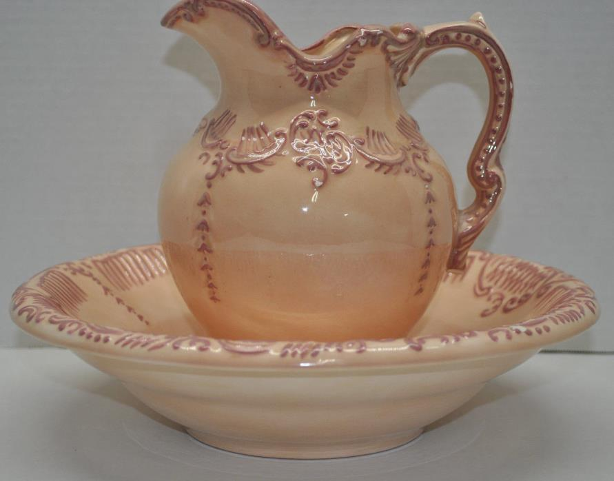 Vintage Medium Hand Painted Peach & Pink Pitcher and Basin Bowl Carafe Jug