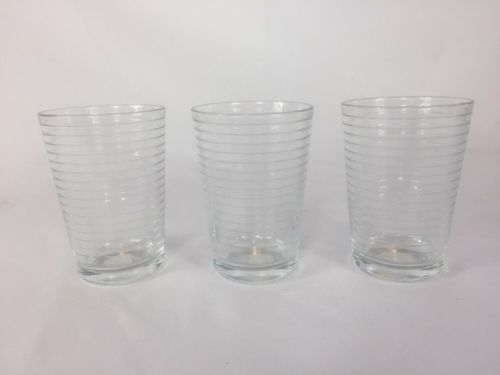 Set of 3 Crate and Barrel Juice Glasses 7 oz Rings NOS