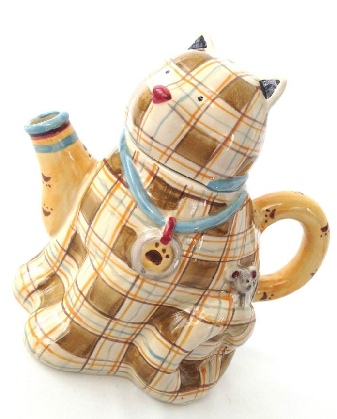 NEW! SAKURA TEAPOT Cat Kitten Paws Debbie Mumm Hand Painted Plaid Brown Ivory