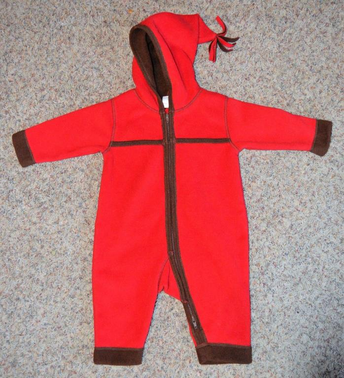 NEW Hanna Andersson Baby Bunting Red/Brown Fleece Size 70 6-12 Mos Coat
