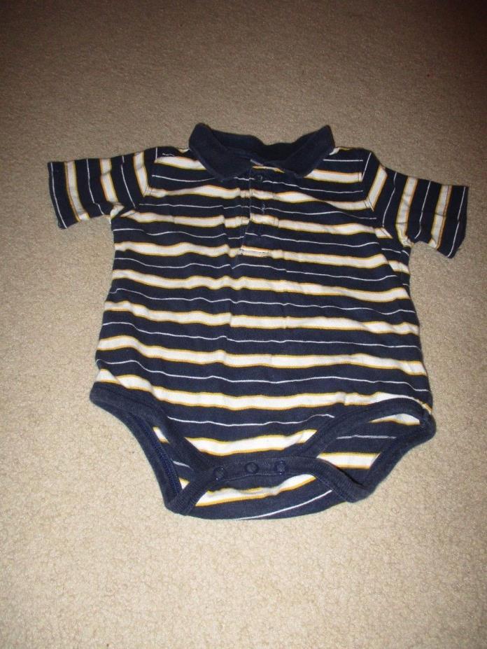 Boy's 12 Month Blue Striped Polo Bodysuit Kid Connection