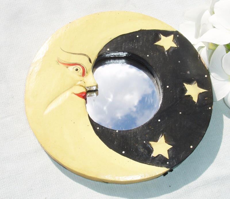 Small Decorative Wooden Crescent Moon Mirror