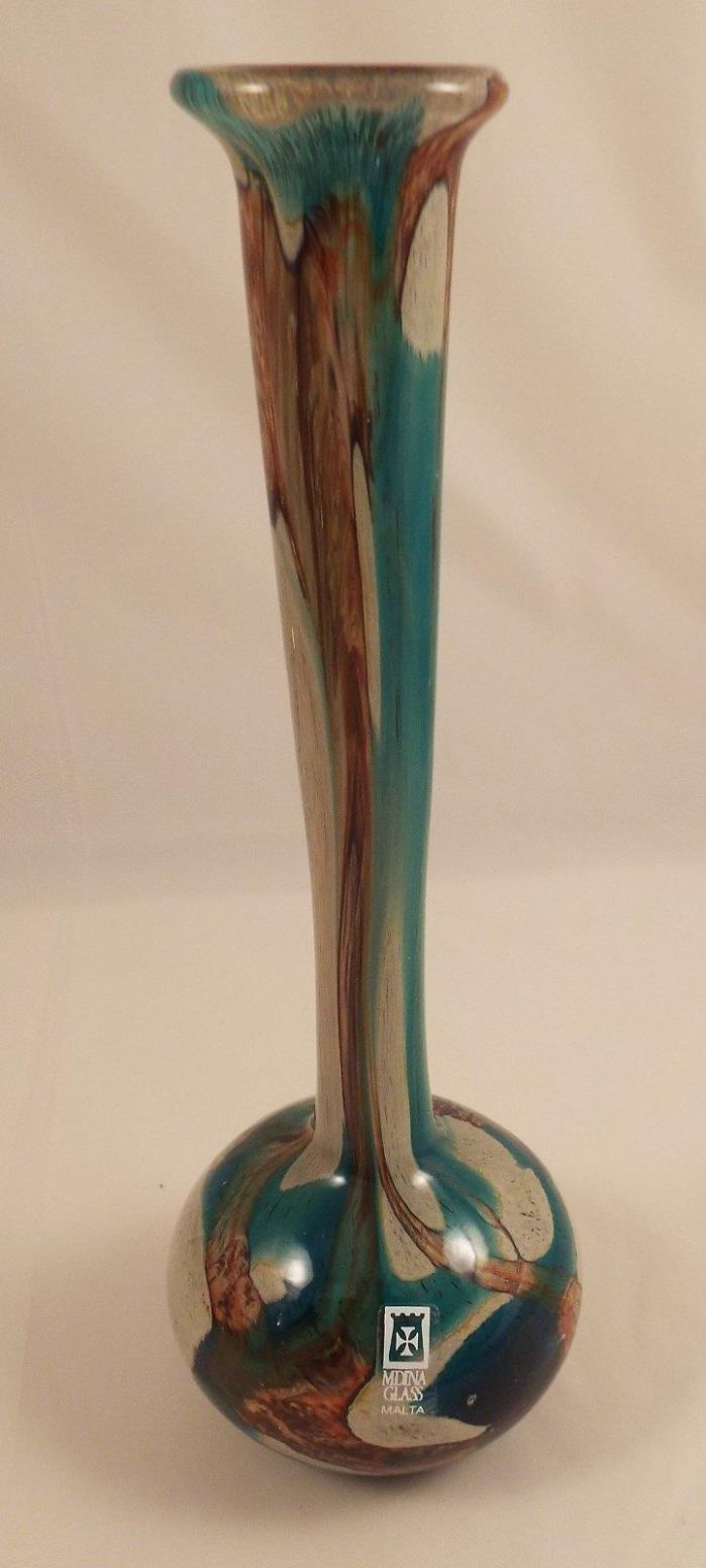 MDINA ART GLASS MALTA TIGER BLUE GRAY GOLD VASE 8 1/2