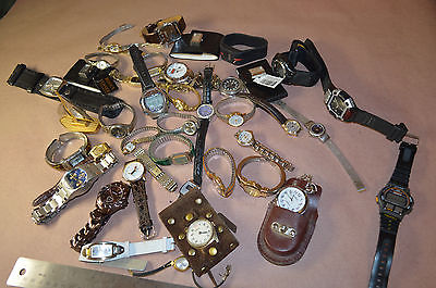 Large Lot of 41 Watches for Parts or Repair, Men's, Women's Vintage  #1509