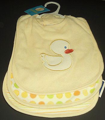 Spasilk 3 Pack Baby Bibs Yellow Terry Cloth Unisex Shower Gift Duck Dots Stripes