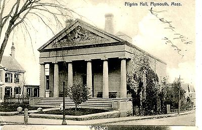 Old post card postcard pilgram hall plymouth mass. pillars building