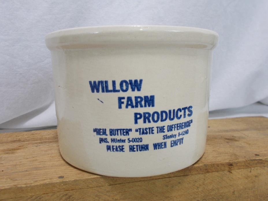 Mid-Century WILLOW FARM PRODUCTS Brookfield Illinois White Butter Crock