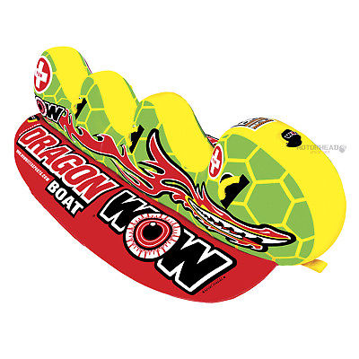 WOW Watersports 13-1060 Dragon Boat Towable Tube 3 Person Banana Water Boat Toy