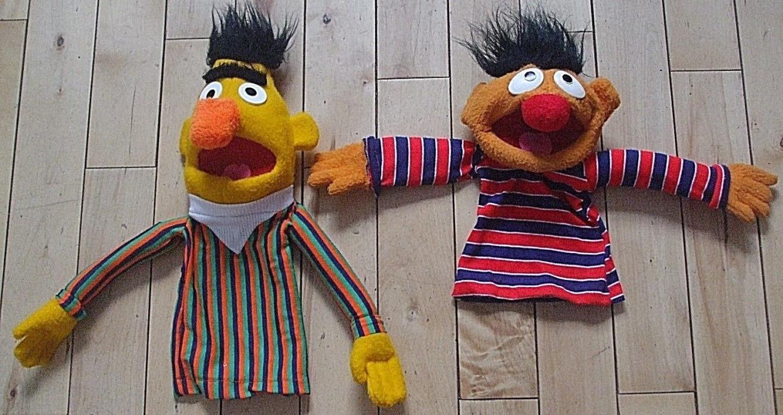Vtg Bert and Ernie Hand Puppets Sesame Street 1970's Muppets