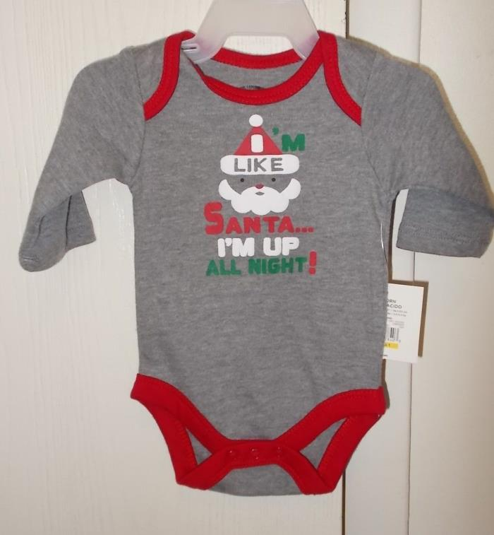 Boys Size 3-6 Months Holiday Time Long Sleeve Gray