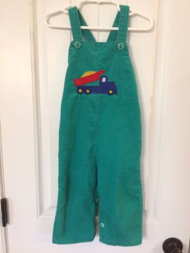 Green Healthtex Longalls 24 Months Dump Truck Appliqué Corduroy Made In USA Boy